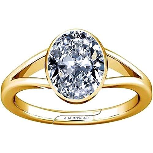 Divya Shakti 3.25-3.50 Carat American Diamond Oval Zircon Gemstone Panchdhatu Adjustable Ring for Men & Women