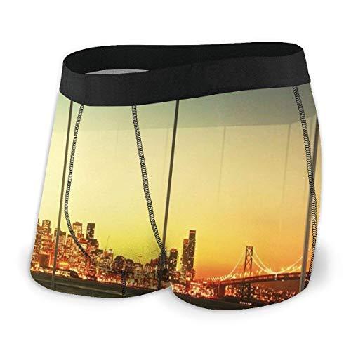 Preisvergleich Produktbild Web--ster Herren Boxer Briefs,  leeres Büro bei Sonnenuntergang mit Blick auf die Skyline-Architektur Downtown City Größe XL
