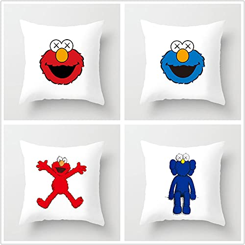 Super Suave Funda de Almohada, Rana Azul roja 4 Pack Algodón Lino Throw Pillow Case Fundas de Cojines para Cojín Hogar Decorativa Almohada para Sofá Coche Cama Sillas 60x60cm(24x24in)