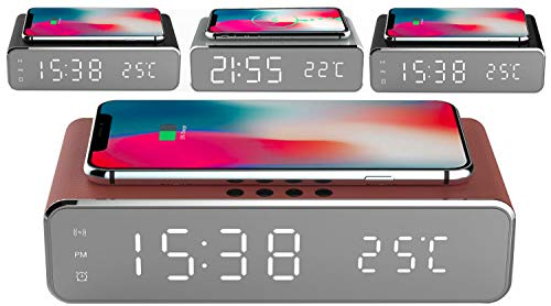 Uhrenwecker | Wireless Charger | Kabelloses Aufladen mit 10W | Alarmfunktion | Temperaturanzeige | Uhrzeit | Datum | Smartphone Wecker | Kabelloses Aufladen | Digitalwecker (Beagle Brown Leder)