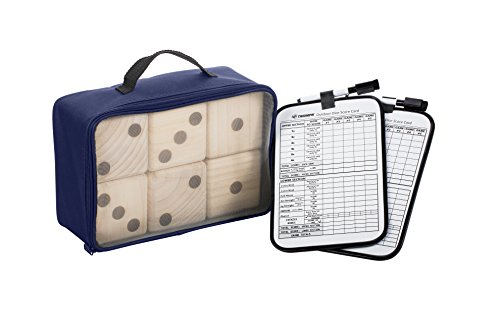 Triumph Big Roller Six Large Wooden Lawn Dice Set for Outdoor Use with Included Dry-Erase Scorecards, Markers, and Carry Bag