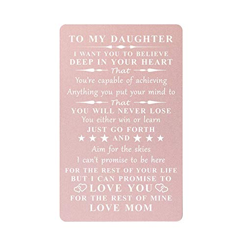 Inspirational Gift for Daughter from Mom, Engraved Wallet Cards from Mommy- You Will Never Lose