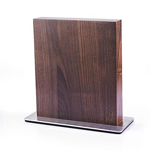 zayiko hochwertiger magnetischer beidseitiger Messerblock für bis zu 8 Messer I Zeitloses Design aus massivem Nussbaumholz mit starken Magneten und Edelstahlsockel ohne Messer