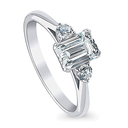 BERRICLE Rhodium Plated Sterling Silver 3-Stone Anniversary Promise Wedding Engagement Ring Made with Swarovski Zirconia Emerald Cut 1.2 CTW Size 6.5