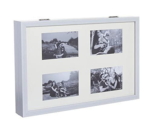 Tapa de cuadro de Luces. Un toque moderno y elegante para ocultar el cuadro de luces. Cubre Contador Eléctrico de Madera. Tapa Abatible. (Multifotos Blanco, 48 x 7 x 32 cm (4 fotos))