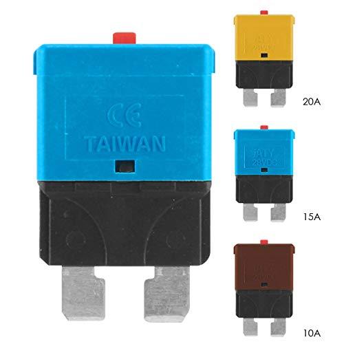 Dibiao 3 piezas/juego fusible de cuchilla de automóvil Restablecimiento manual Interruptor de circuito reutilizable fusible de cuchilla 10A 15A 20A
