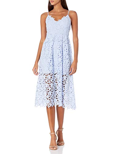ASTR the label Women's Sleeveless Lace Fit & Flare Midi Dress, Periwinkle, L (Apparel)
