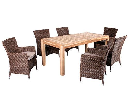 Ambientehome 7 piezas. Burano - Conjunto de mesa y sillas de teca y polirratán (180 cm, incluye cojín), color marrón