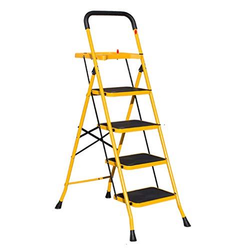 ZKHD Haushalt Einziehbarer Leiter Mit Handlauf Werkzeugtafel, Verbreiterte Pedal Klapp Fischgrät-Leiter, Innen Verdickten Multifunktionale Treppensteigleiter,Style 1