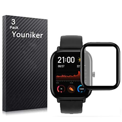 Youniker - Pellicola protettiva per display Amazfit GTS per Amazfit GTS Smartwatch, pellicola protettiva 3D a copertura completa dello schermo, trasparente HD, antigraffio, anti-impronte, senza bolle
