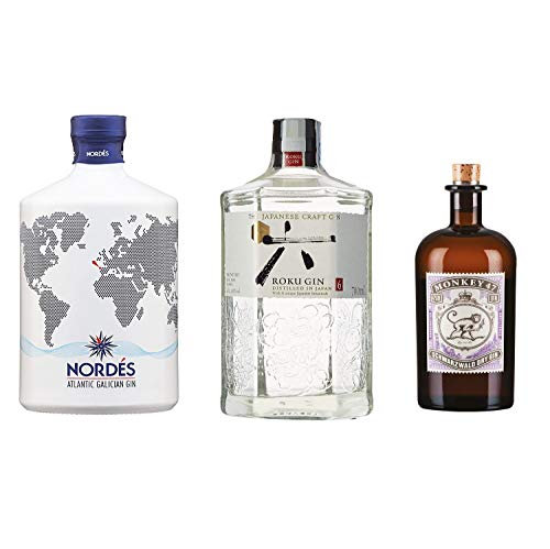 Pack MYSECRETWINE Las Mejores Ginebras Premium. 1 Nordes, 1 Roku y 1 Monkey 47