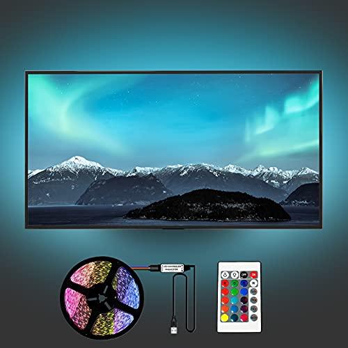 Yifacoom Retroiluminación LED para TV, tira de luces con mando a distancia 24 llaves, 2 m USB Powered RGB TV 40 60 pulgadas, multicolor y modo computadora, dormitorio, bar