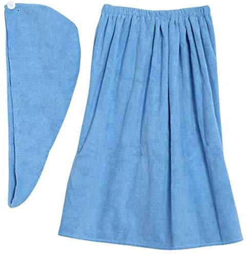 Falda de Sauna para Mujer, Falda Pareo Suave y Suave con Velcro y Envoltura de Toalla para el Cabello de SPA Hecha de algodón orgánico 150 * 90 cm, en