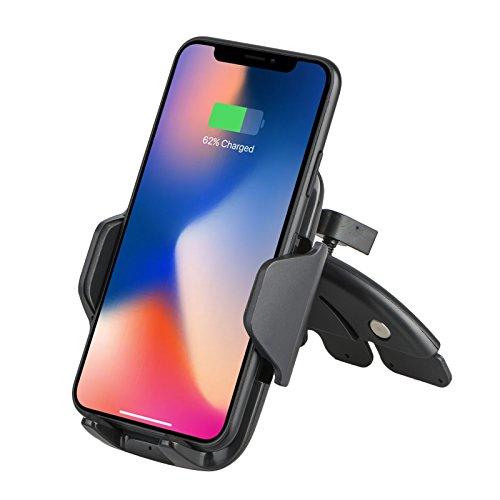 Qi - Cargador de coche inalámbrico para Samsung Galaxy S9/S9 Plus/S8, Note 8, carga estándar para iPhone X, 8/8 Plus y dispositivos habilitados para Qi