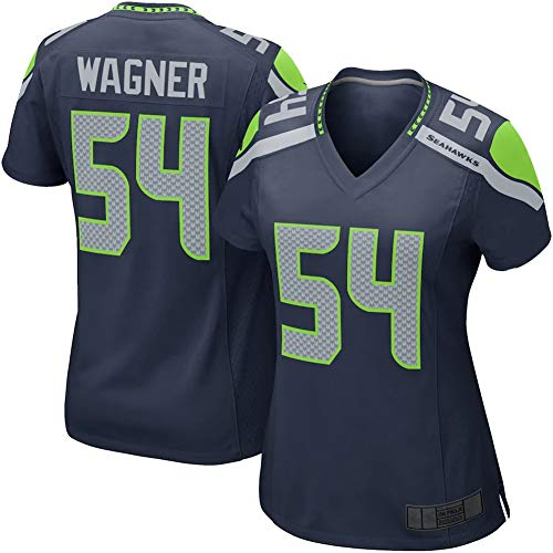 Rugby-Trikot für Männer - 54# Bobby Wagner Seattle Seahawks Damen American Football Jersey Mesh Schnelltrocknende Fans Sweatshirt Women\'s Navy Jersey-L