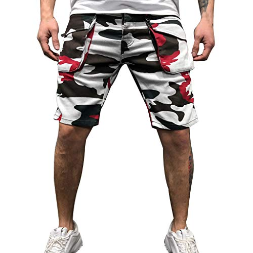 PPangUDing Cargoshorts Bermuda Kurze Hose Herren Sommer Stilvolle Camouflage Printed Schnell Trocknend Mit Kordel Jogginghose Sweatshorts Sporthose Laufshorts Strandhose Beachshorts Badeshorts