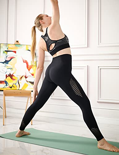 Amazon Brand – Eono Leggings Mujer Push Up Deporte Pantalones Yoga Mallas Cintura Alta sin Costuras Large - Negro