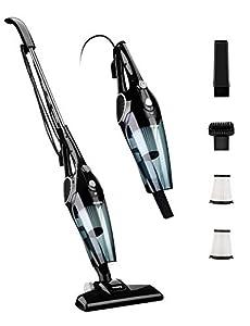 Holife Aspiradora Escoba de 12Kpa, Aspirador Vertical 2 en 1, 800ml, con 2 Filtros HEPA Lavables y 3 Cepillos, Vertical y Portátil Ajustable [Clase de eficiencia energética A+]