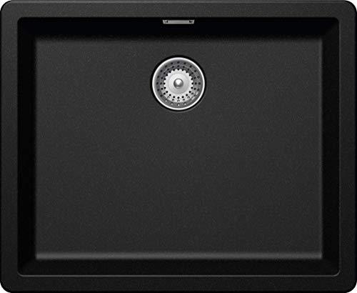 SCHOCK kompakte Küchenspüle 55,6 x 45,6 cm Greenwich N-100L Magma - CRISTADUR schwarze Granitspüle ohne Abtropffläche ab 60 cm Unterschrank-Breite