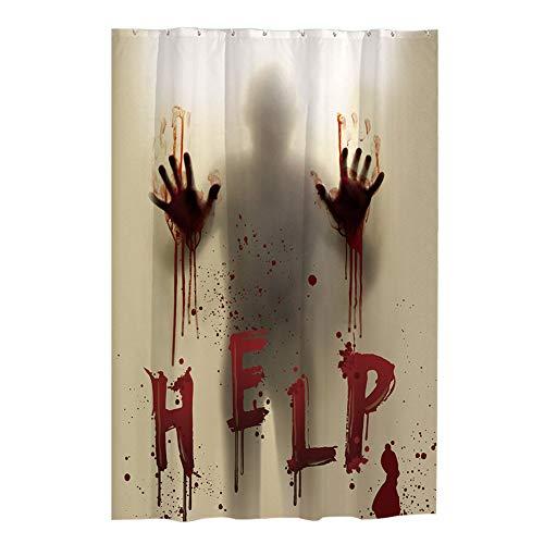 MFAHFD Halloween Schreckliche Blutige Hände Helfen Wasserdicht Duschvorhang Badezimmer Dekor