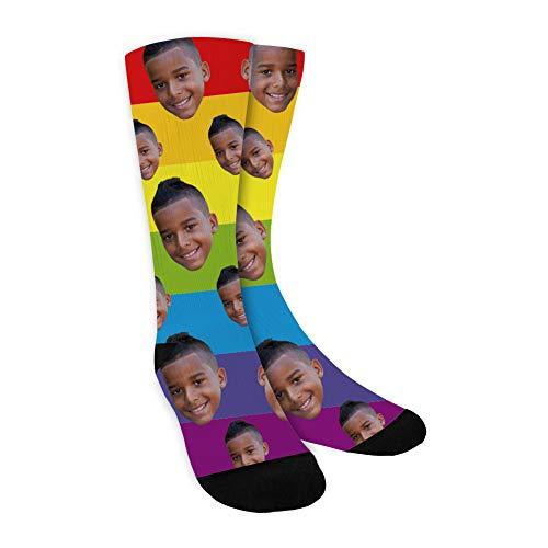 MissChic Socken Personalisiert Foto,Lustige Socken, Socken Persönlich, mehrere Gesichter,Legen Sie Ihr Gesicht auf Socken für Unisex, Geschenk für Freuen, Herren, Fre&in, Mutter, Schwester