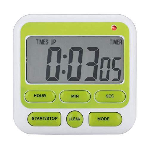 Etase Temporizador de Cocina Digital de 24 Horas, Pantalla Grande, Alarma, Soporte de Respaldo MagnéTico, para Cocinar, Oficina de Deportes, Aula (Verde)
