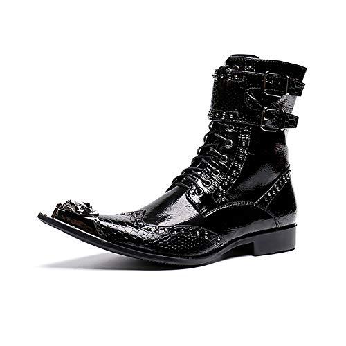Lederen laarzen voor heren, zwart, krokodil, slangenleer, modieus, glanzende jurk, schoenen, punk Martin, gepersonaliseerde western cowboy rock zanger, bruiloft, casual, kantoor, party
