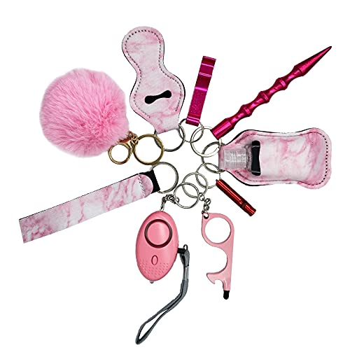 Self-Defense Keychain Set for Women and Kids, Safety Keychain Accessories, with Safe Sound Personal Alarm (1 Pack with 10 Items - Pink)