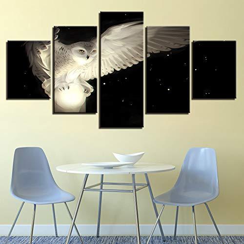 FFFZDCKAY Quadro 5 Pezzi Stampa su Tela Pittura Moderna Gufo Bianco Poster Decorazione Casa Soggiorno Immagine Animale Stampata HD su Tela Senza Telaio