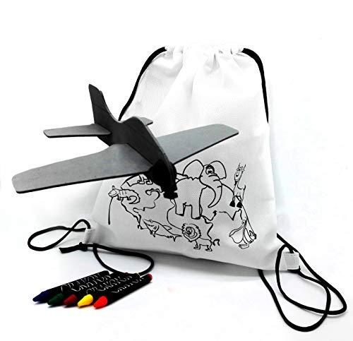 FUN FAN LINE – Set de Mochilas Infantiles para Colorear + Aviones de Goma Eva. Packs, Fiestas y Juguetes de cumpleaños Infantiles ¡con Ceras de Colores de Regalo (30 Unidades)