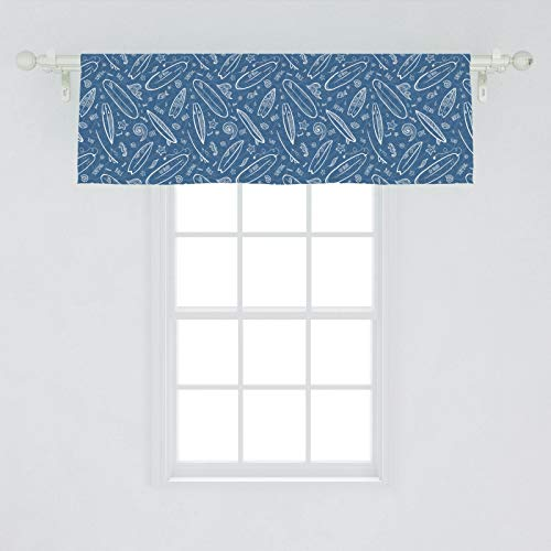 """Ambesonne Surfboard Window Valance, Blue Waters Oceanic Elements Waves Swirls Doodle White Outlines Hobby Fun Times, Curtain Valance for Kitchen Bedroom Decor with Rod Pocket, 54"""" X 18"""", White Blue"""
