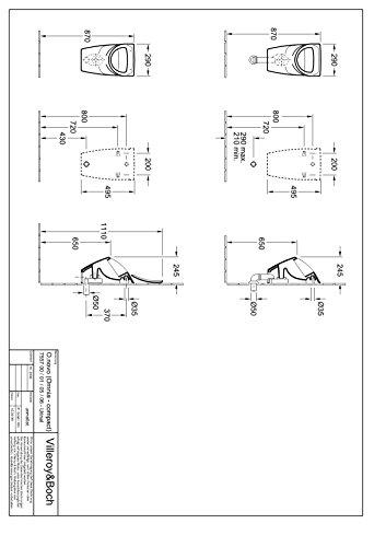 Villeroy & Boch Urinoir sans Novo compact pour couvercle blanc alpin 75570001