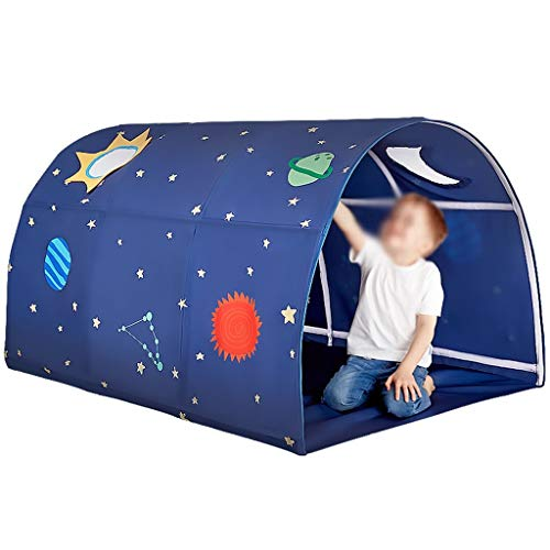 ANQIY Tienda de campaña para juegos artísticos, túnel, tela de felpa, suave, plegable, conveniente, almacenamiento fácil de limpiar para niños (color: azul, tamaño: B)