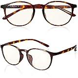 ROTAKUMA ブルーライトカット メガネ PC眼鏡 パソコン用 JIS規格40% UVカット99.9% 超軽量14g ボストン型 おしゃれ 紫外線カット メンズ レディース ユニセックス 度なし 伊達めがね (ブラウンデミ)