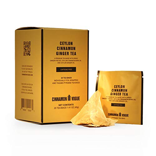 Ceylon Cinnamon Ginger Tea | 100% Dried Ginger infused with Ginger and Cinnamon Oil | 20 Individually wrapped envelopes