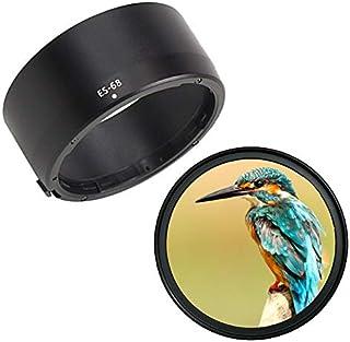 Canon キヤノン 互換 レンズフード & UV保護 レンズフィルター 2点セット (ES-68 & 49mmフィルター)