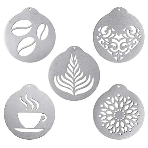 5 Pcs Stainless Steel Coffee Stencils,Latte Art Coffee Garland Mould Personalised Stencil for Coffee Cake Decorating