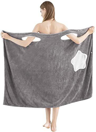 Albornoces de lana de coral para mujeres, albornoces de felpa de microfibra de secado rápido para mujeres, hogar playa salón spa, súper absorción de agua de secado rápido...