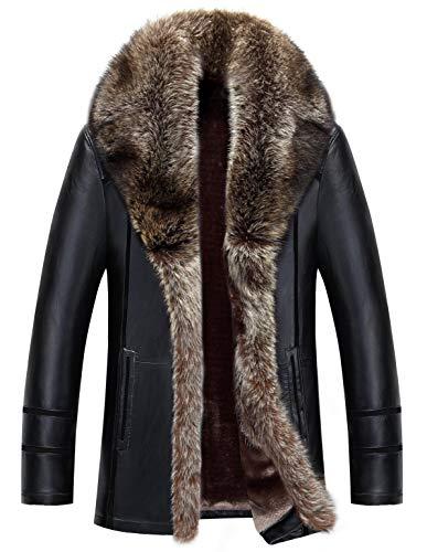 moxishop Herren Winter Warm Leder Mäntel Schaffell Jacke Fur Jacken Pelzmantel Parka Waschbär Pelz Kragen Innenfutter (A02- Schwarz,XL)