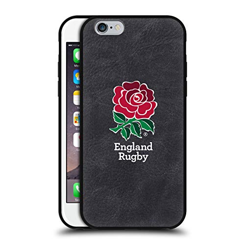 Head Case Designs Ufficiale England Rugby Union Pieno Logo Cover in Pelle Parte Posteriore Nera Compatibile con Apple iPhone 6 / iPhone 6s