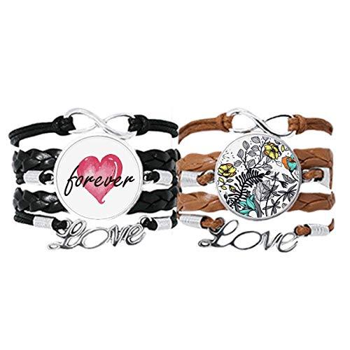 Bestchong Modern Art Camelia Blumen Pflanzen Zeichnung Armband Handschlaufe Leder Seil Forever Love Armband Doppelset