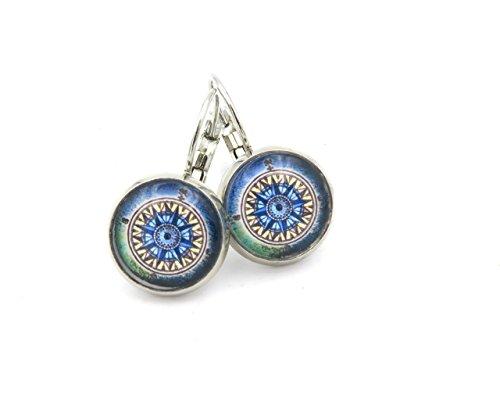 Kompass Motiv Cabochon Ohrringe Damen Modeschmuck Ohrhänger silberfarben