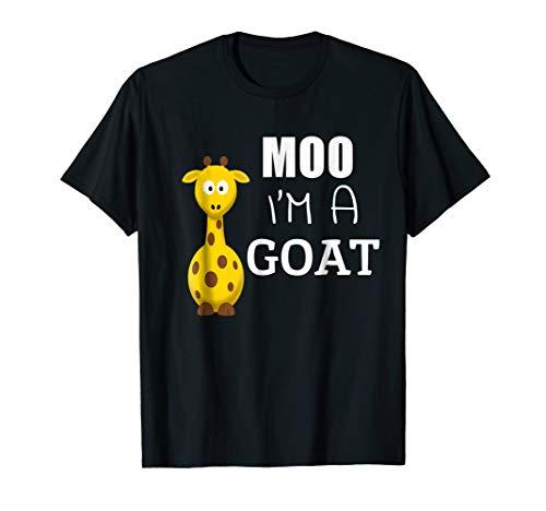 Moo I'm A Goat Funny Cartoon Giraffe Graphic Ironic Tee T-Shirt