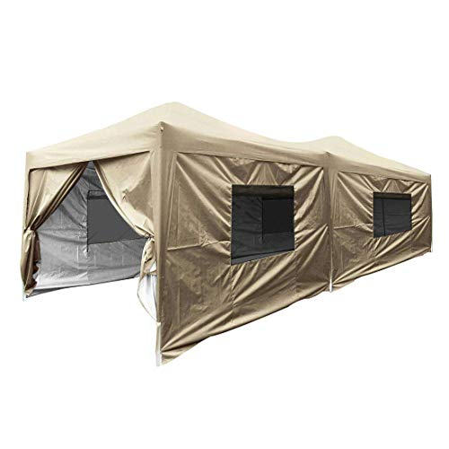 Quictent 10x20 Easy Pop up Canopy Tent Enclosed Instant Outdoor Canopy Shelter with Sidewalls Waterproof (Beige)