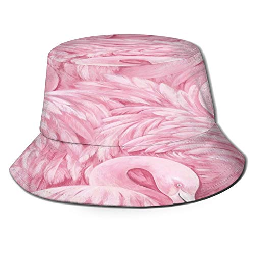Pink Feather Flamingo Fisherman Hat 3d Printed Reversible Boonie Hat Durable Flap Sun Cap Lightweight Portable Bucket Hat Eye Protect Travel Hat For Sports Golf Gardening Boating Beach