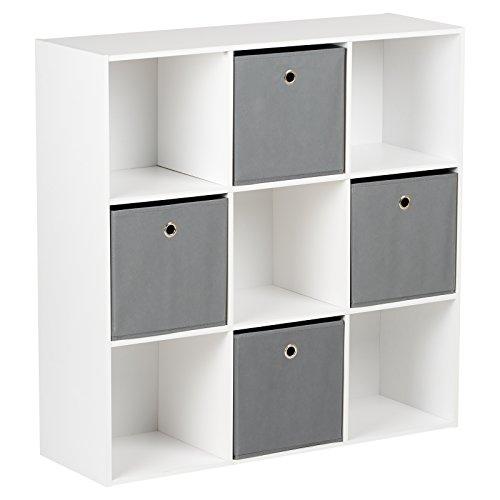 Hartleys Würfelregal in Weiß| mit 9Fächern u. 4Schubkästen in Grau und praktischem Griffloch | Wohnzimmer > Regale > Regalwürfel | Hartleys