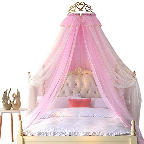 YQ WHJB Princesa Mosquitero,Doble Capa Decoración Cabecera Cremallera Manto De Cama Metálico 100% Wall Teester Cama con Dosel Drapery Bed Corona Hardware-b King