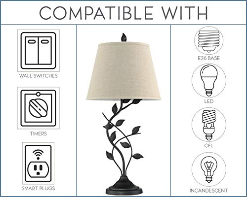 """Kira Home Ambrose 31"""" Traditional Rustic Table Lamp + Beige Fabric Shade, Leaf Detailed Body, 7W LED Bulb (Energy Efficient, Eco-Friendly), Matte Black Finish"""