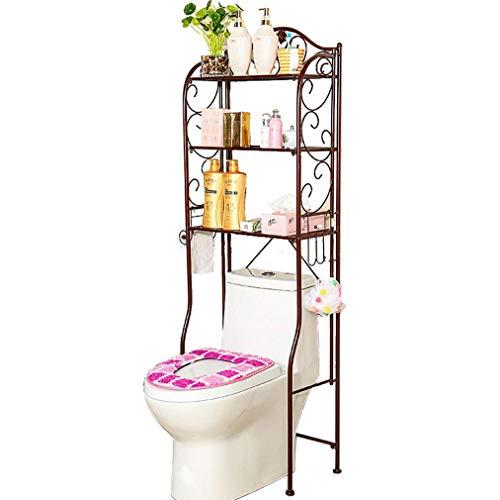 JIAJBG Estante de inodoro de 3 niveles Ahorro de espacio Estantes de baño de metal patrón simple sobre almacenamiento de inodoro independiente baño organizador hfgjhfghdfgv/bronce