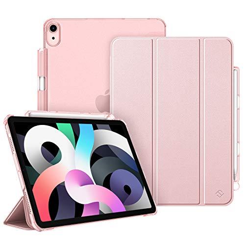 FINTIE Funda para iPad Air 10,9' (4.ª Generación, 2020) con Soporte Integrado para Pencil - Carcasa Ligera Trasera Transparente Mate con Auto-Reposo/Activación, Oro Rosa